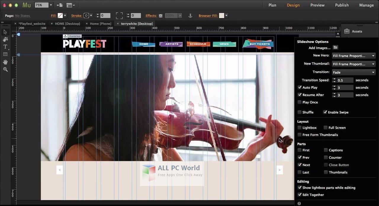 Adobe Muse CC 2017 User Interface