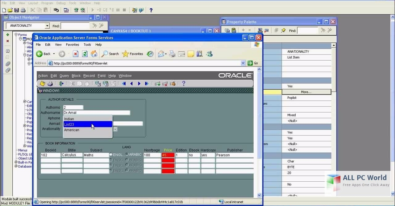 Oracle 10g User Interface