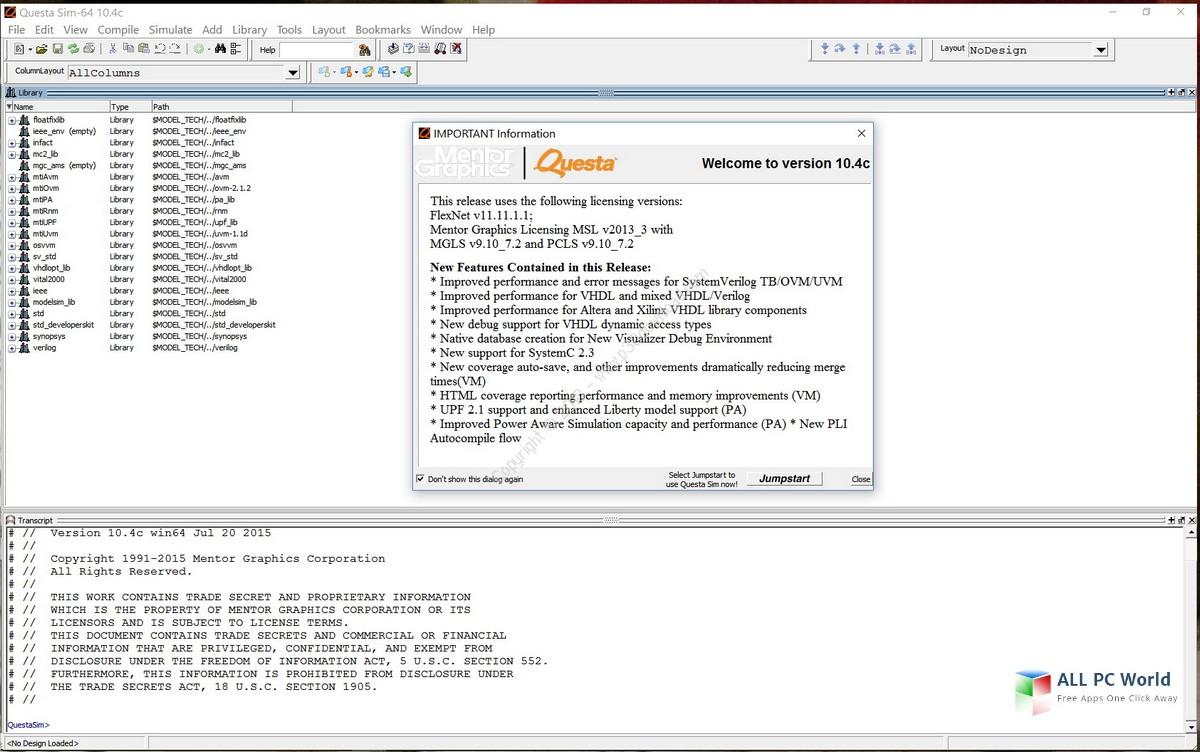 Mentor Graphics QuestaSim SE v10.4 Free Download
