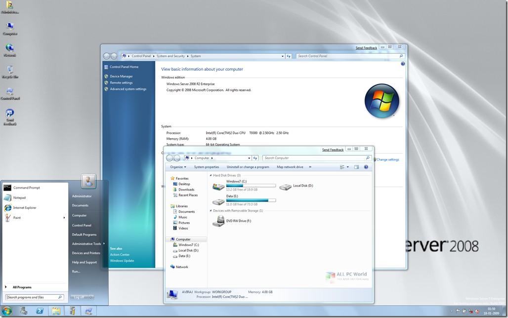 Windows Server 2008 R2 SP1 AIO Feb 2019 DVD ISO