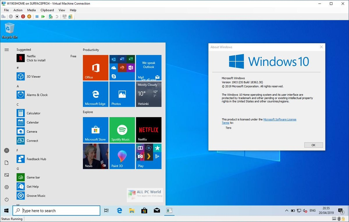 Microsoft Windows 10 Pro 19H2 December 2019