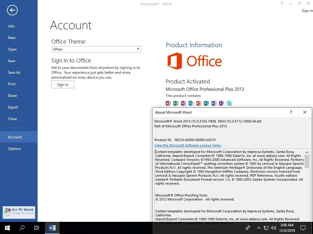 Microsoft Office 2013 Pro Plus SP1 VL January 2020