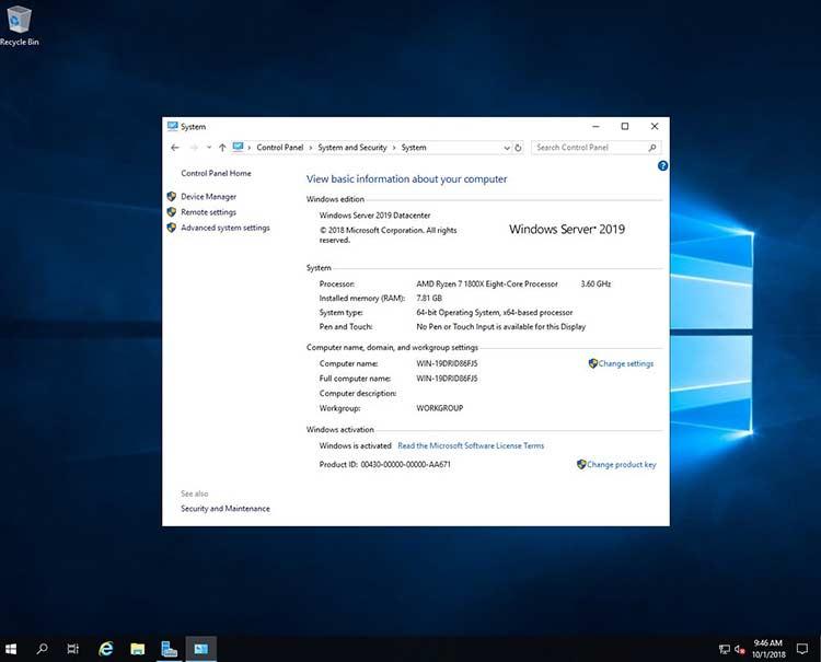 Microsoft Windows Server 2019 v1909 January 2020 Build 18363.592