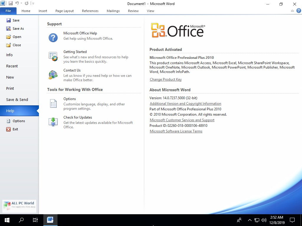 Office 2010 SP2 Pro Plus VL January 2020