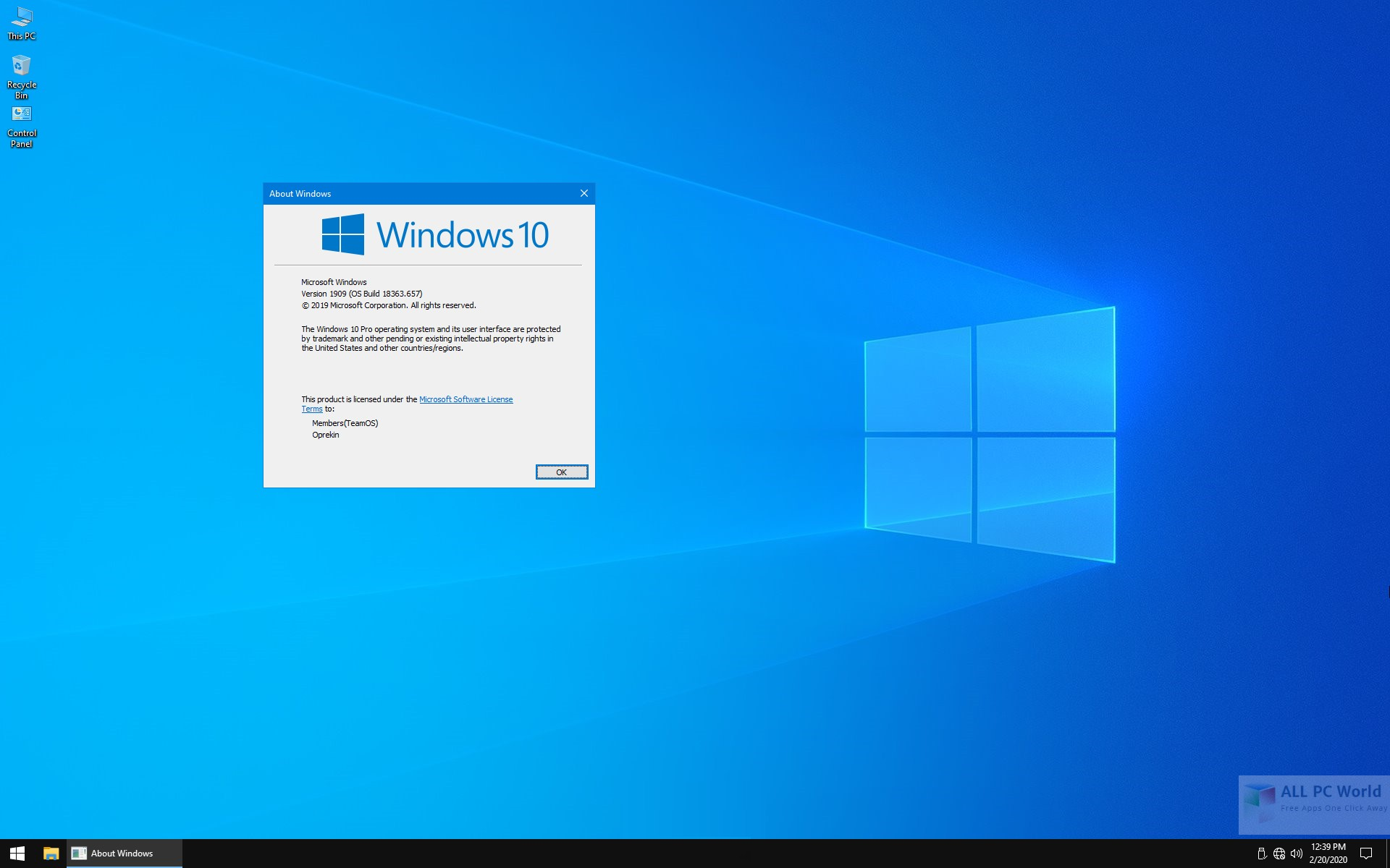 Windows 10 Pro 19H2 1909 x64 Lite February 2020 DVD ISO