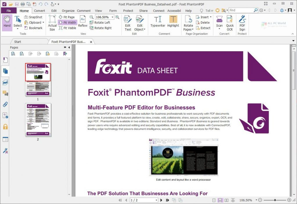 Foxit PhantomPDF Business 10.0 Free Download