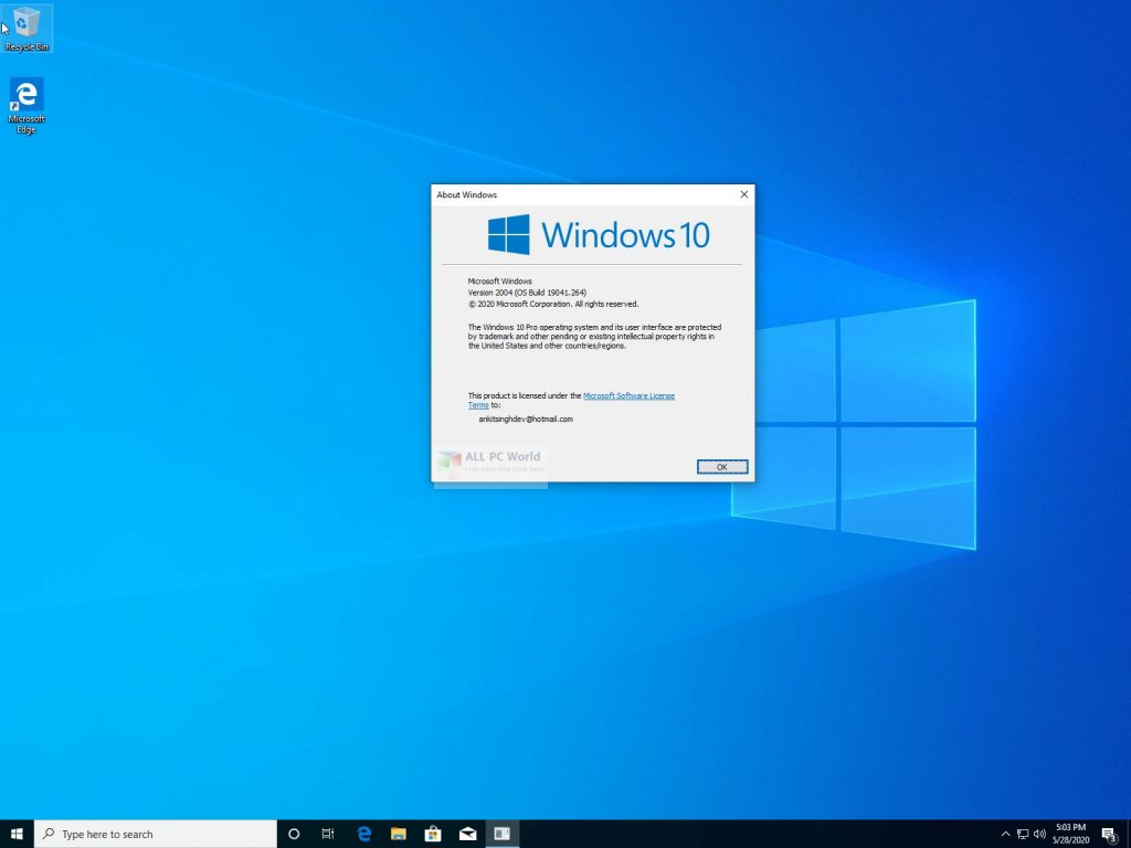 Windows 10 Pro 20H1 June 2020