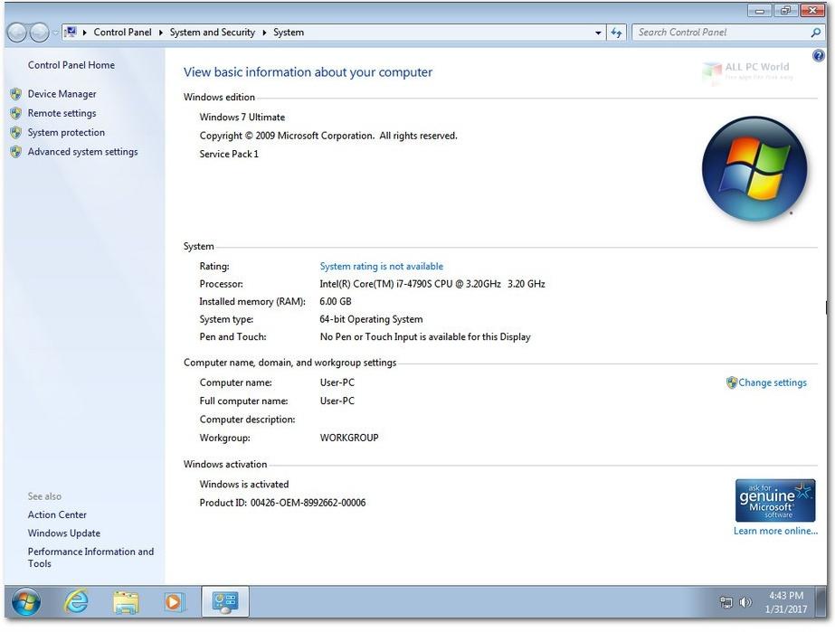 Windows 7 Ultimate SP1 June 2020