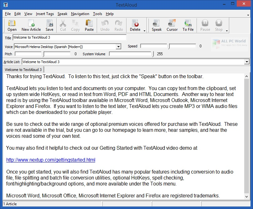NextUp TextAloud 4.0 Free Download