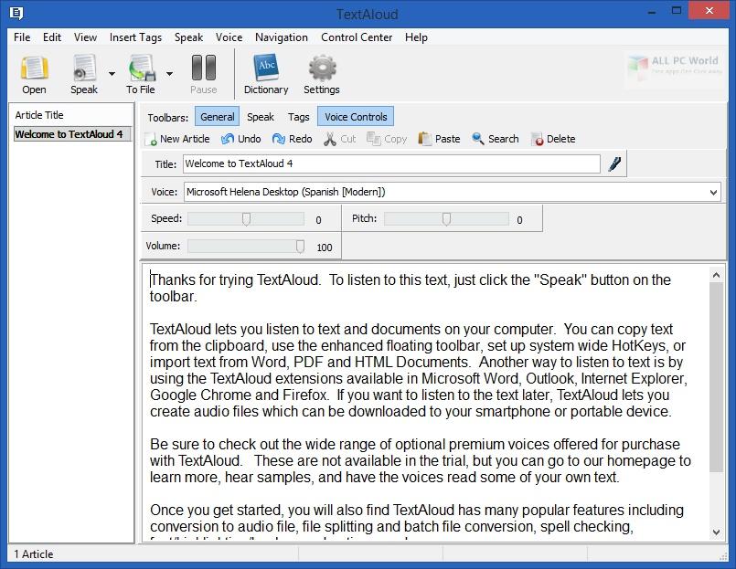 NextUp TextAloud 4.0
