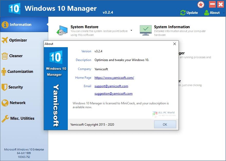 Windows 10 Manager 2020 v3.2 Free Download