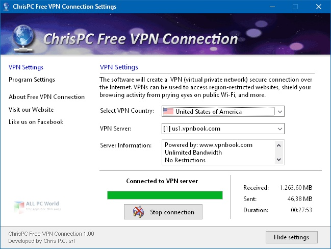 ChrisPC Free VPN Connection 2.08 One-Click Download