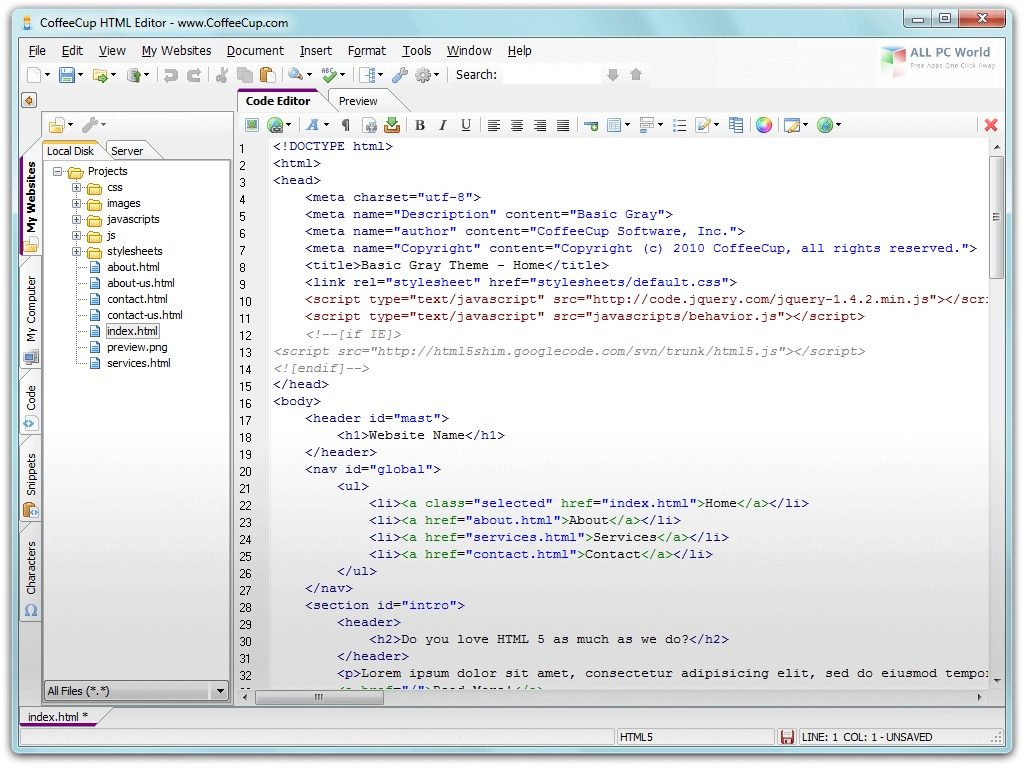 CoffeeCup HTML Editor 17.0 One-Click Download