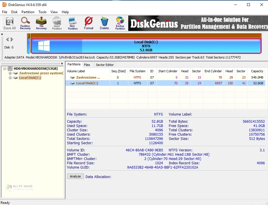 DiskGenius Professional 5.4 for Windows 10