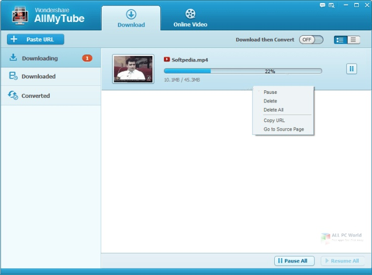 Wondershare AllMyTube 7.4.9 Installer
