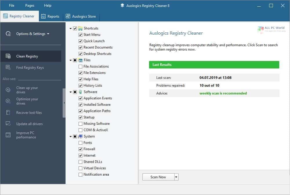Auslogics Registry Cleaner Professional 9.0 Free Download