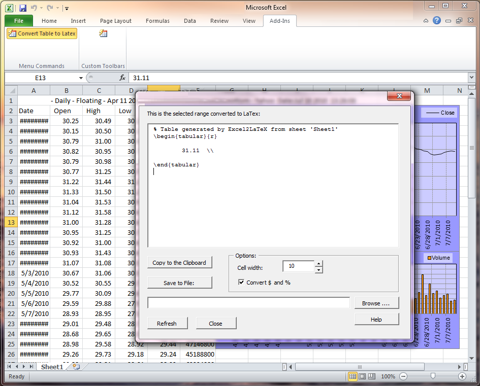 Excel2Latex 2 Free Download