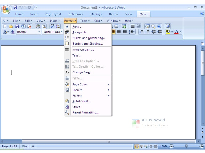 MS Word 2007 Classic Menu 9 Setup Free Download