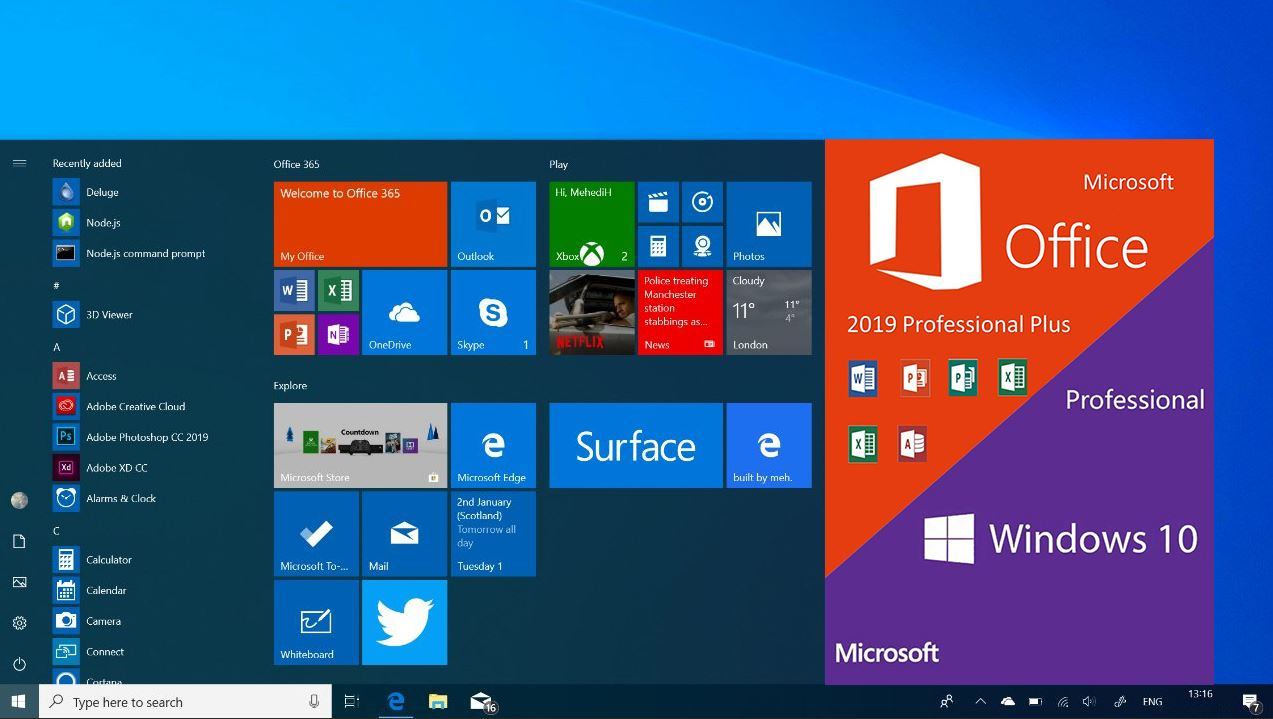 Windows 10 Pro v19043.1110 With Office 2019 ISO Free Download