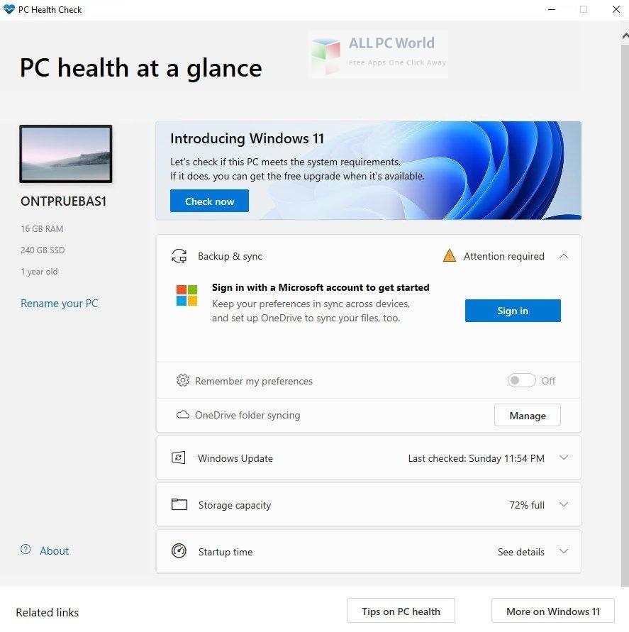 Windows PC Health Check 2 Setup Free Download