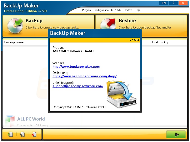 BackUp Maker Professional 8 Free Download