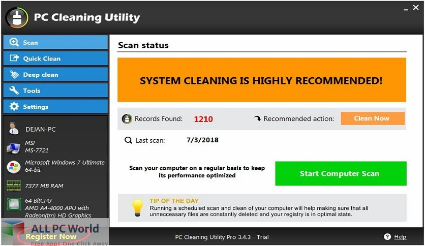 PC Cleaning Utility Pro Free Download