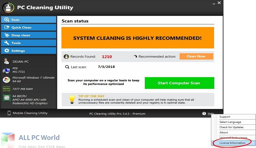 PC Cleaning Utility Pro for Free Download