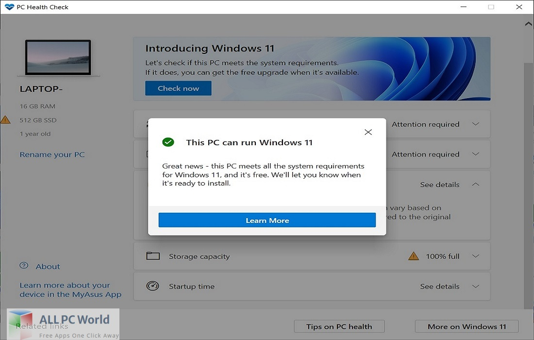 Windows PC Health Check for Free Download