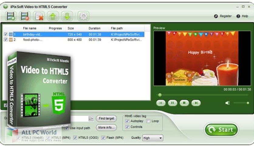 iPixSoft Video to HTML5 Converter Free Download